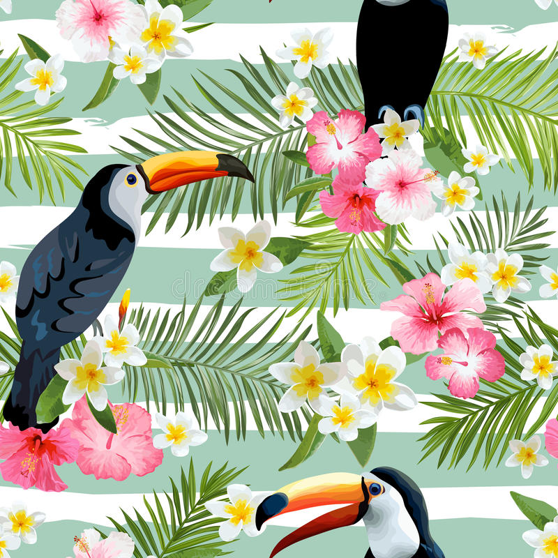 Tukan-Vogel-Hintergrund Retro- Muster Tropischer Hintergrund stock abbildung