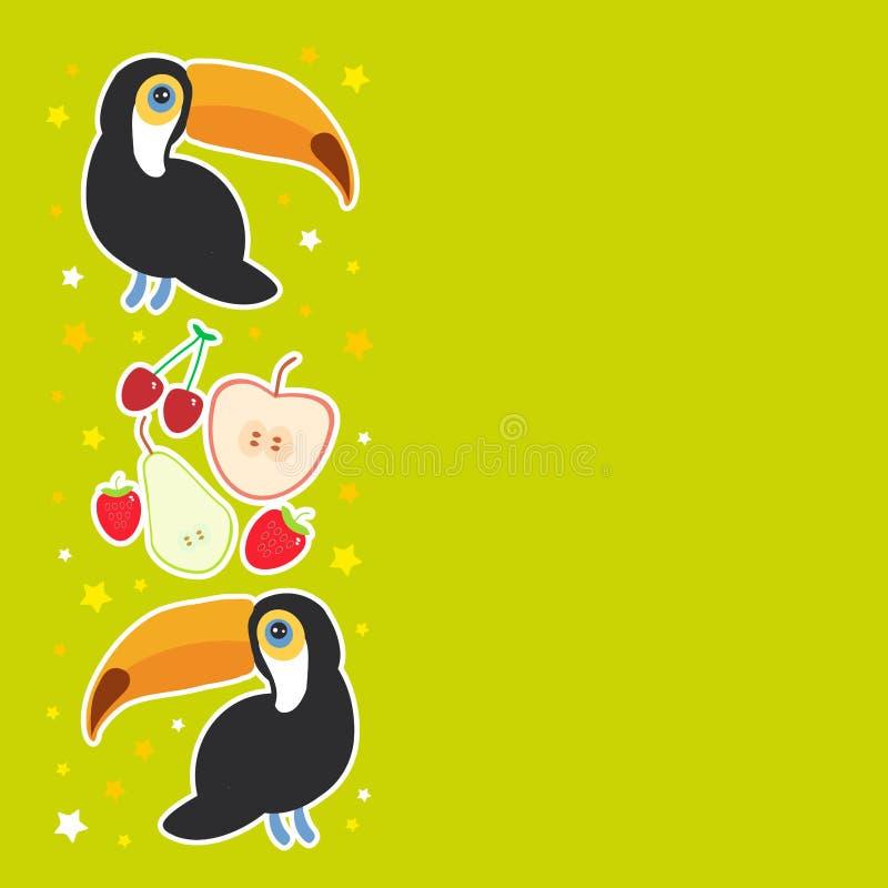 Tukan-Vogel und die Apfelbirnenerdbeerkirsche auf grünem Hintergrundkarten-Fahnenentwurf, Platz für Text Vektor stock abbildung