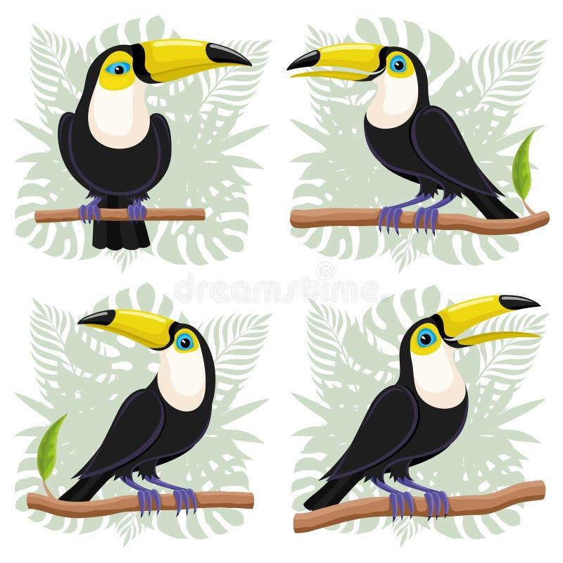 Tukanfåglar på filialer royaltyfri illustrationer
