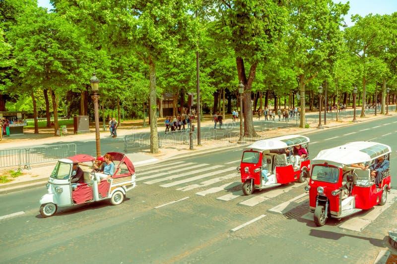 tuktuk taxi in paris france editorial stock image image 63227994. Black Bedroom Furniture Sets. Home Design Ideas