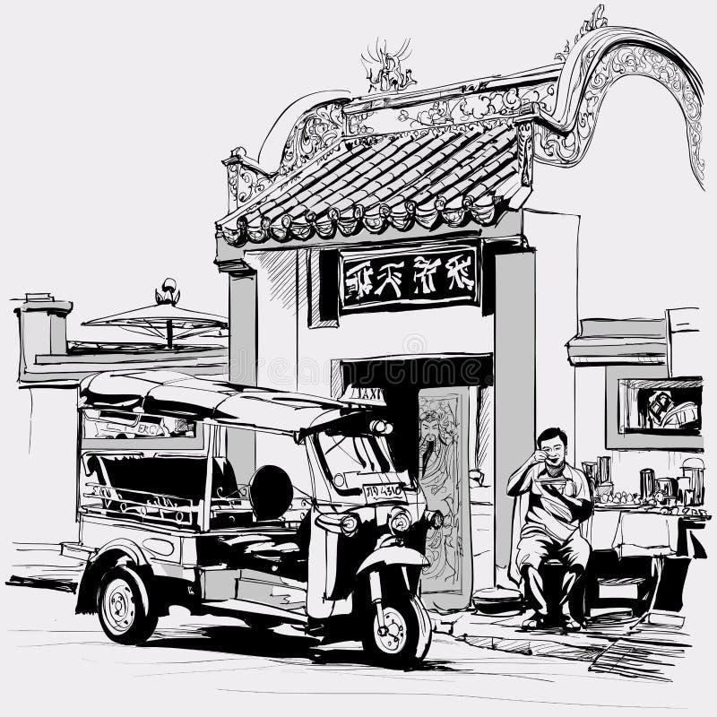 Tuku tuku kierowcy łasowanie przy drzwi chińska świątynia w Bangkok royalty ilustracja