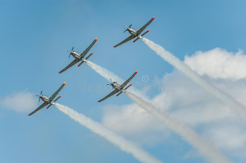 Orlik team shows great shows and leaves behind a smokes in the sky stock image
