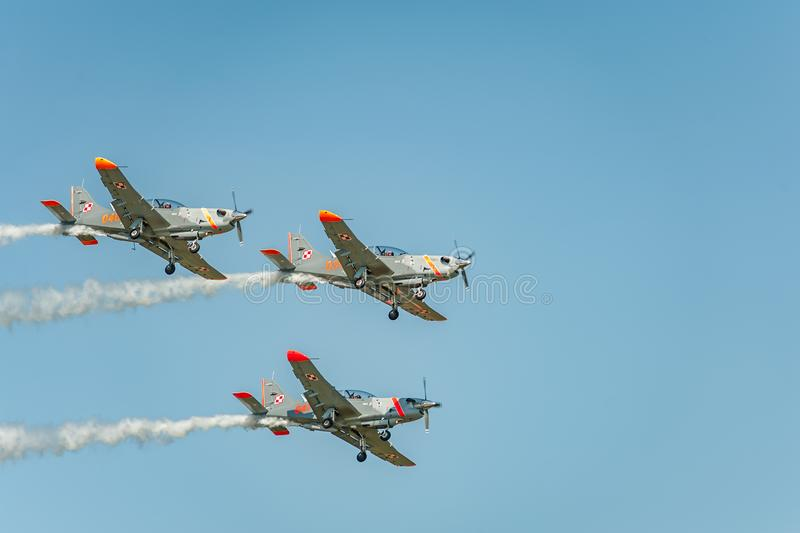 Orlik team shows great shows and leaves behind a smokes in the sky stock photo