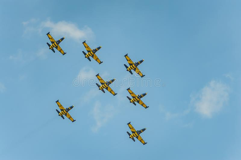 Baltic Bees team performs flight at air show and shows a stunt stock photography