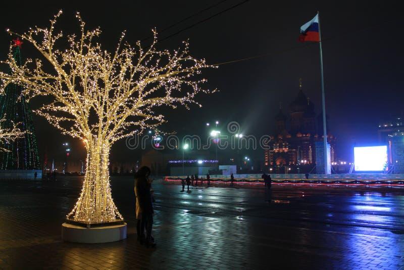 Tula, Novo-ano 2018 no quadrado de Lienin foto de stock royalty free