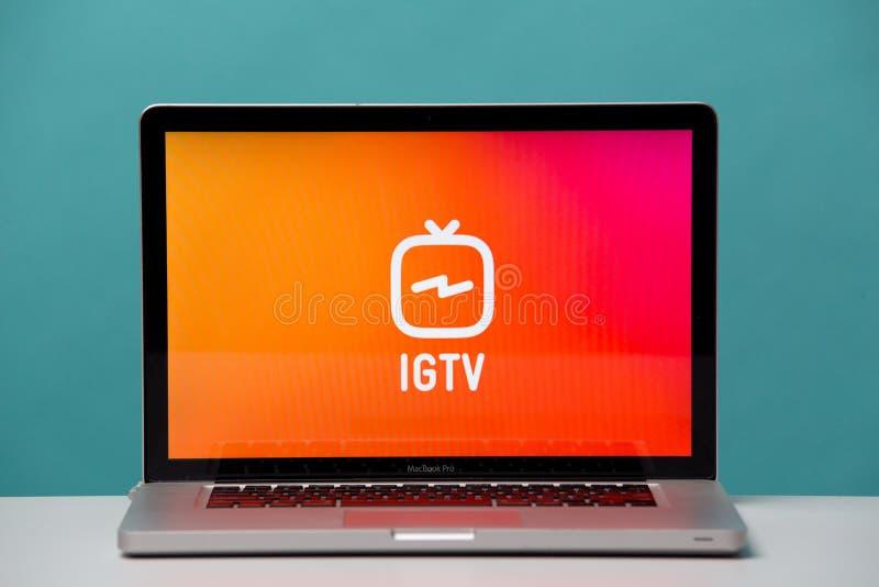 Tula, Rússia 17 06 2019 IGTV na exposição do portátil imagem de stock royalty free