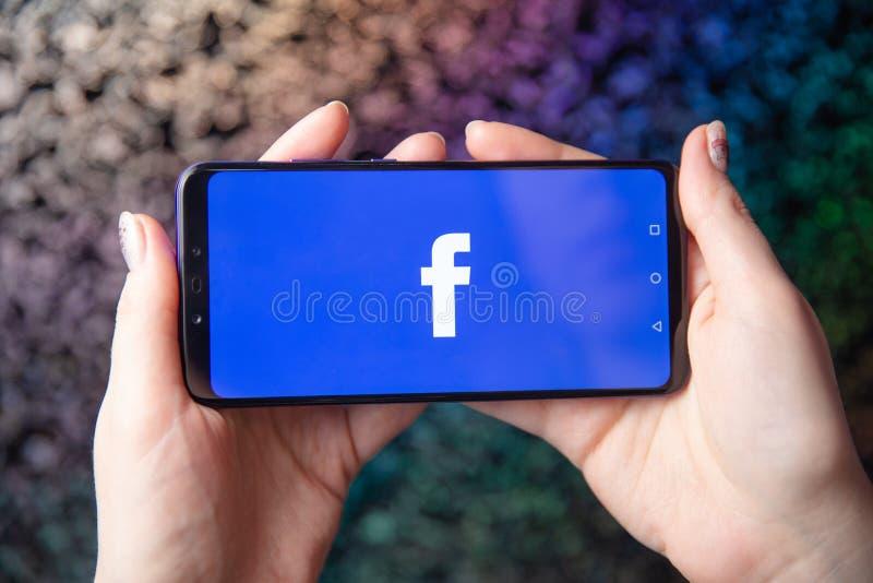 Tula Rosja, Listopad, - 28, 2018: Facebook app ogólnospołeczny medialny logo na nazwie użytkownikiej, w górę rejestracyjnej stron zdjęcia stock