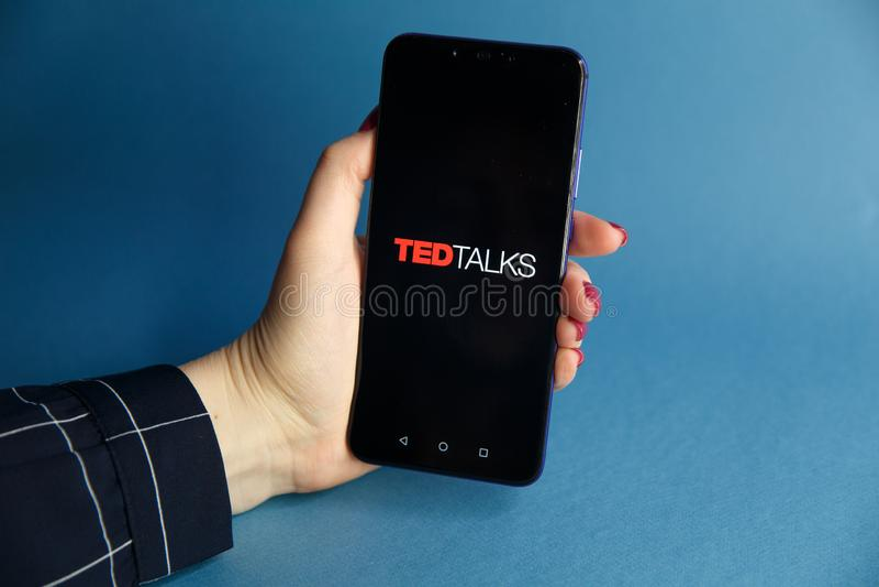 Tula Rosja, STYCZEŃ, - 29, 2019: TED Opowiada logo wystawiającego dalej obrazy royalty free