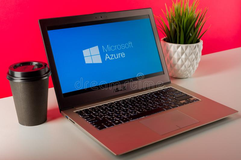 Tula, Russia - AUGUST 18, 2019: Microsoft Azure displayed on a modern laptop on desk royalty free stock photo