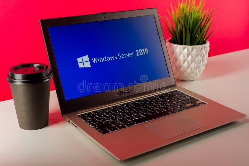 Tula, Russia - AUGUST 18, 2019: Microsoft Windows Server 2019 displayed on a modern laptop stock photo