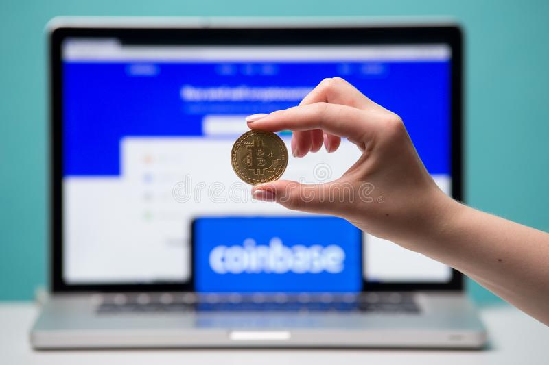 Tula, Russia 17. 06 2019 Coinbase on the laptop and phone display. royalty free stock images