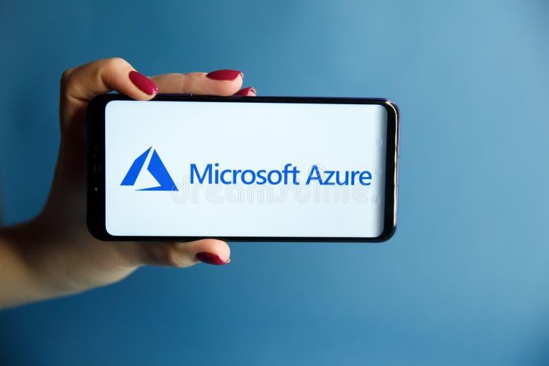 Tula, Russia - JANUARY 29, 2019: Microsoft Azure logo displayed on a modern stock image