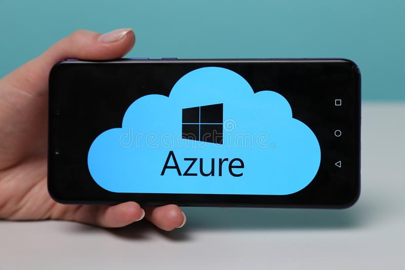 Tula, Russia - May 12 , 2019: Microsoft Azure on phone display. stock image