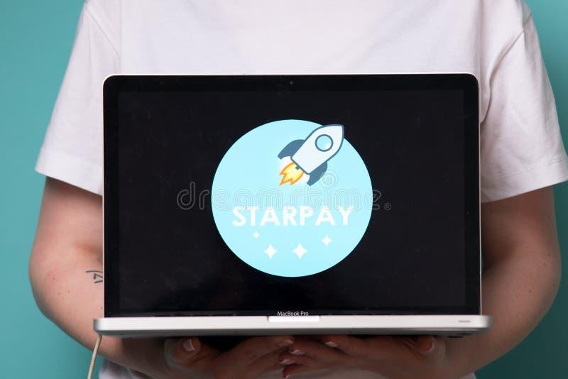Tula, Russia 17. 06 2019 Stellar Lumens on the laptop display. stock photography
