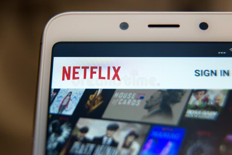 Tula, Russland - 31. Oktober 2018: Abschluss herauf Netflix-Appikone auf Laptopschirm Netflix ist eine internationale Führung lizenzfreie stockfotografie