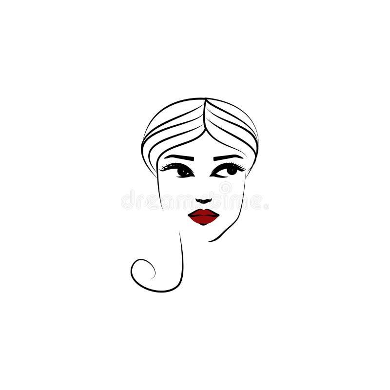 Tulbandhoed, meisjespictogram Element van mooi meisje in een hoedenpictogram voor mobiele concept en webtoepassingen De dunne hoe stock illustratie
