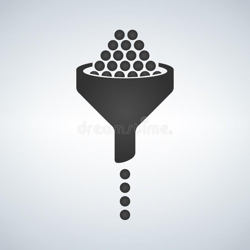 Tulejowa ikona, wypełniający mieszkanie znak, stały piktogram odizolowywający na bielu Rodzaj, filtrowy symbol, logo ilustracja royalty ilustracja
