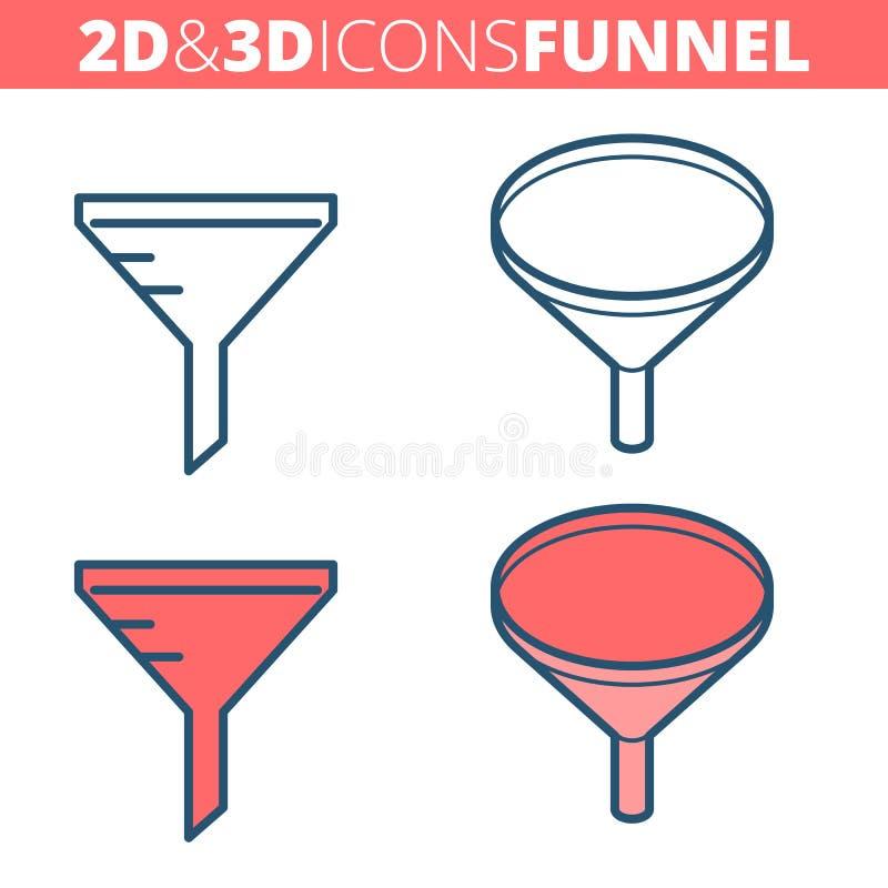 Tulejowy filtr Płaski i isometric 3d konturu ikony set ilustracja wektor