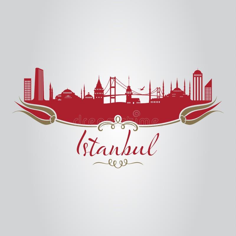 Tulipán de la silueta de Estambul ilustración del vector
