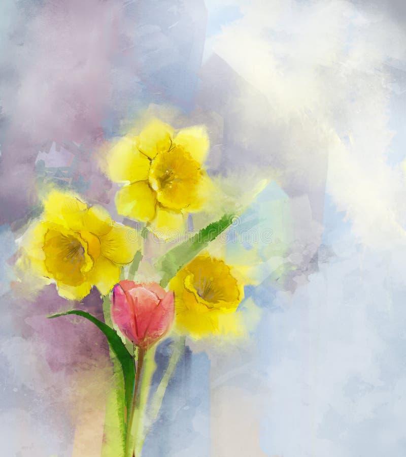 Tulipán rojo de la pintura al óleo y flores amarillas de los narcisos ilustración del vector