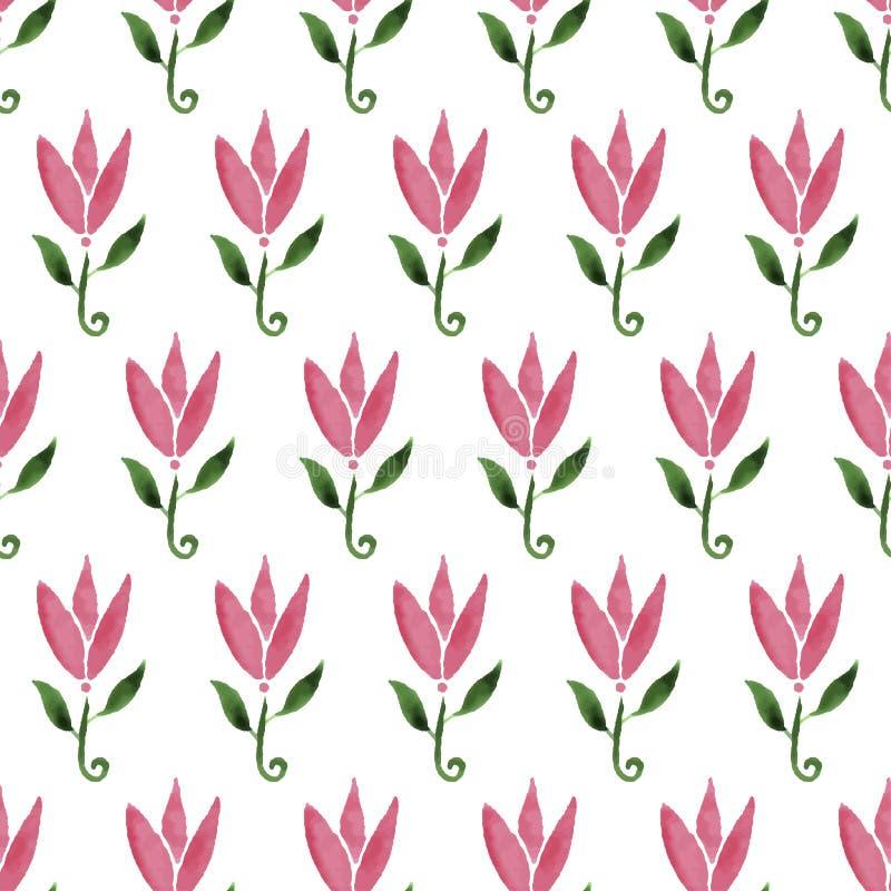 Tulipán rosado de la flor de la historieta de la acuarela Modelo inconsútil drenado mano La textura se puede utilizar para imprim stock de ilustración