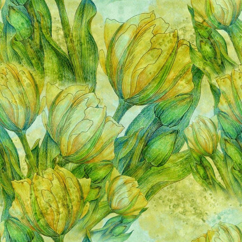 Tulipán - una composición de flores Apenas llovido encendido Modelo inconsútil stock de ilustración