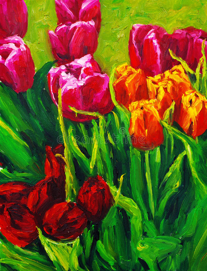 Tulip. Oil painting about the tulip vector illustration