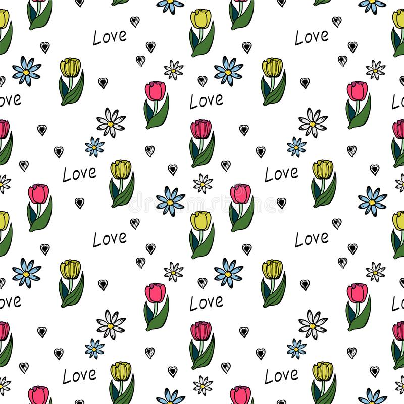 Floral seamless pattern on a white background. stock illustration