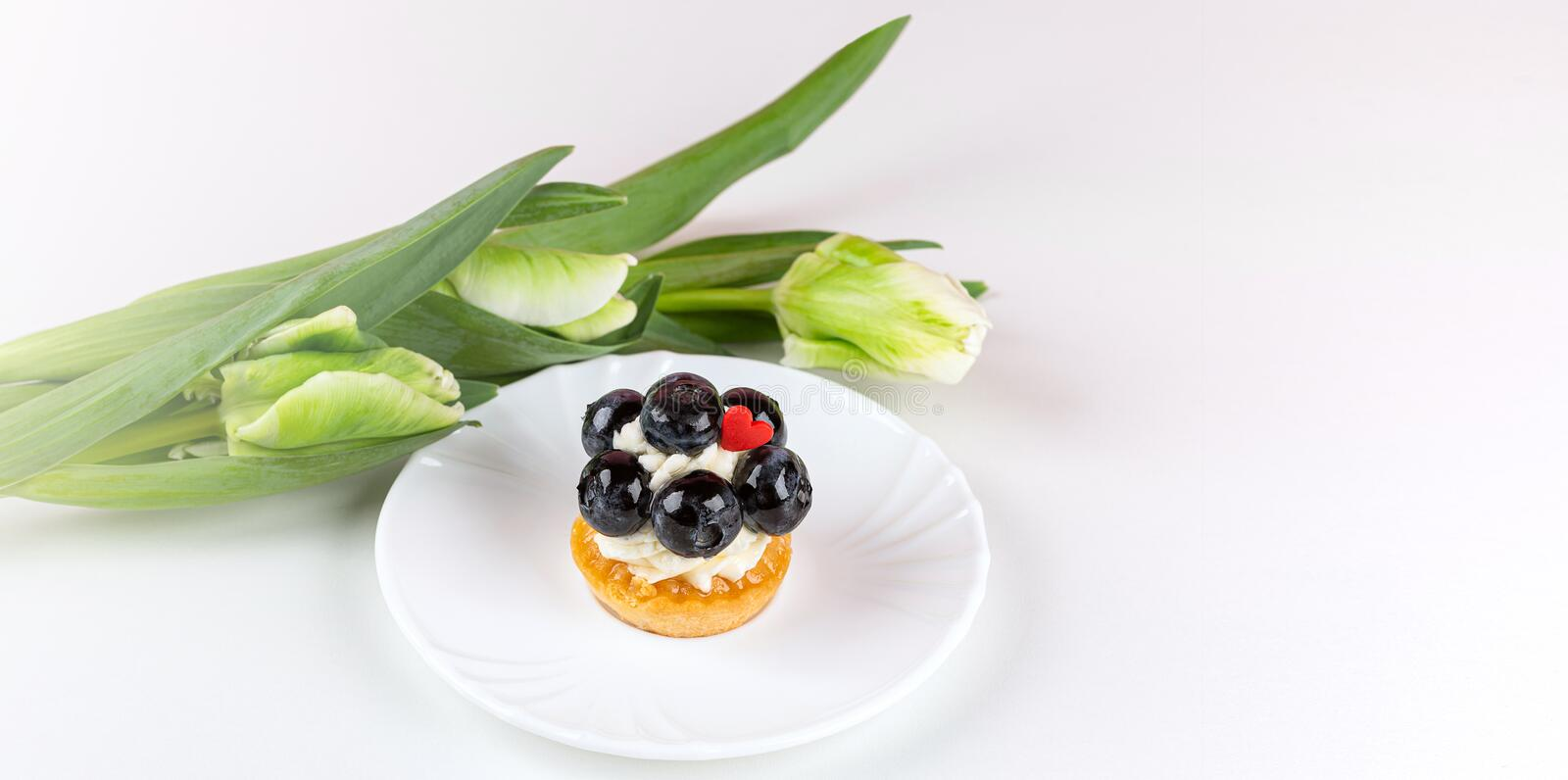 Tulip bouquet and mignon cake. Banner royalty free stock photo