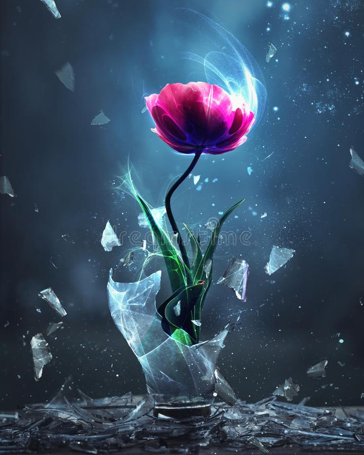 Tulip bursting from light bulb stock images