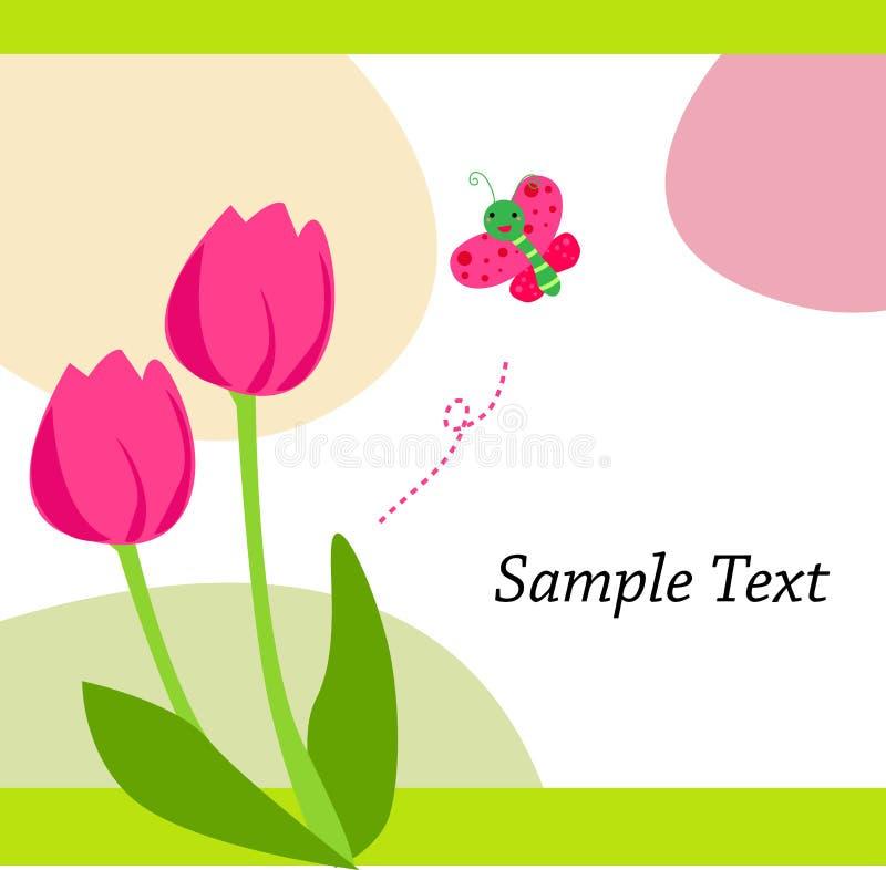 Tulip e borboleta ilustração stock