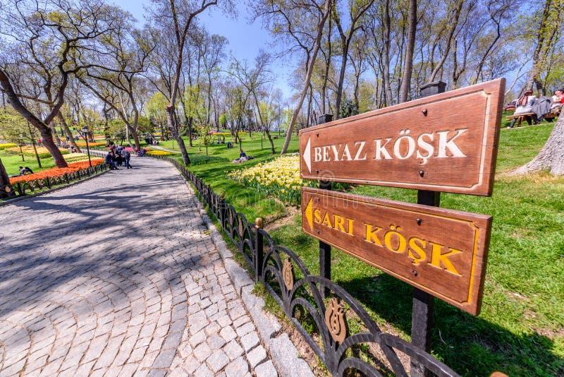 Tulip Festival tradicional en el parque de Emirgan en Estambul, Turquía foto de archivo
