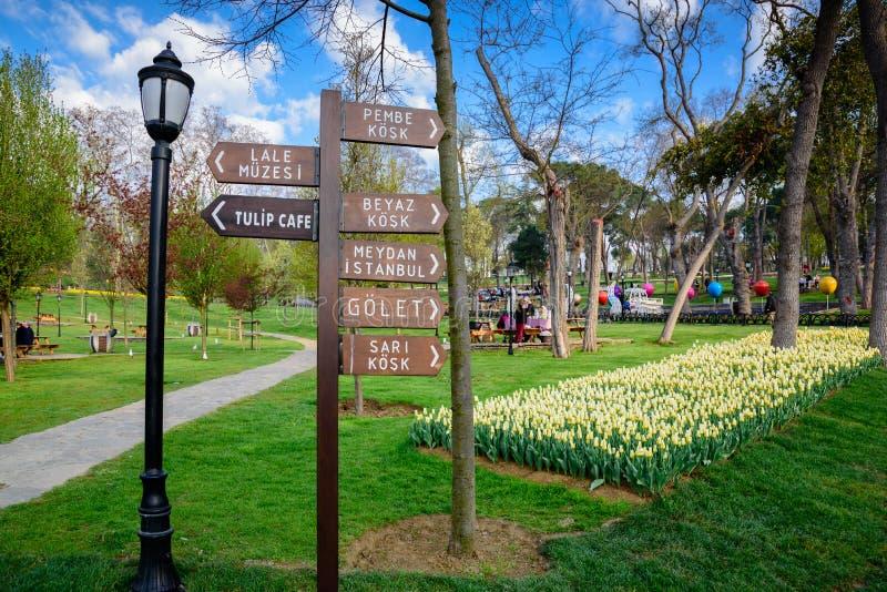 Tulip Festival tradicional en el parque de Emirgan en Estambul, Turquía fotos de archivo libres de regalías