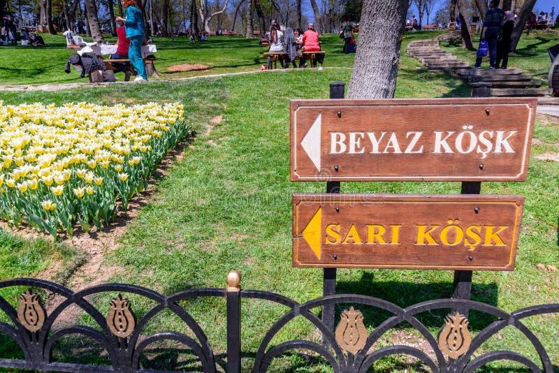 Tulip Festival tradicional en el parque de Emirgan en Estambul, Turquía fotos de archivo
