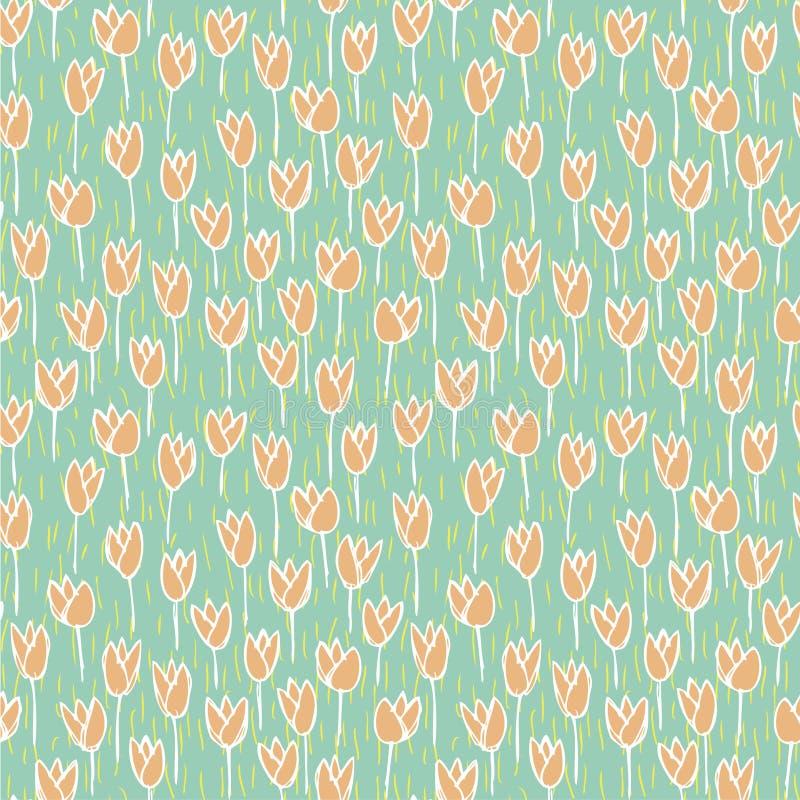 Tulip Field Seamless Pattern ilustración del vector