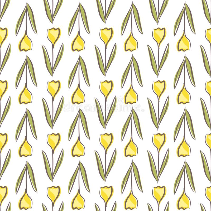 Tulip floral seamless pattern with yellow flowers shape on white background royalty free stock images