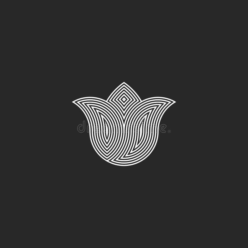 Tulip flower logo monogram, sacred geometry esoteric harmony graphic emblem, balance energy buddhism sign stock illustration
