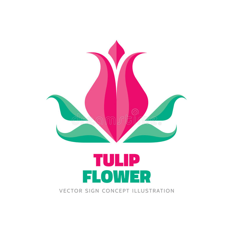 Tulip flower - vector logo template concept illustration in flat style. Abstract beauty nature creative sign. Design element royalty free illustration