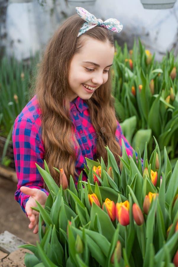 Tulip Flowerbed. Gardening Activity For Kid. Happy Teen