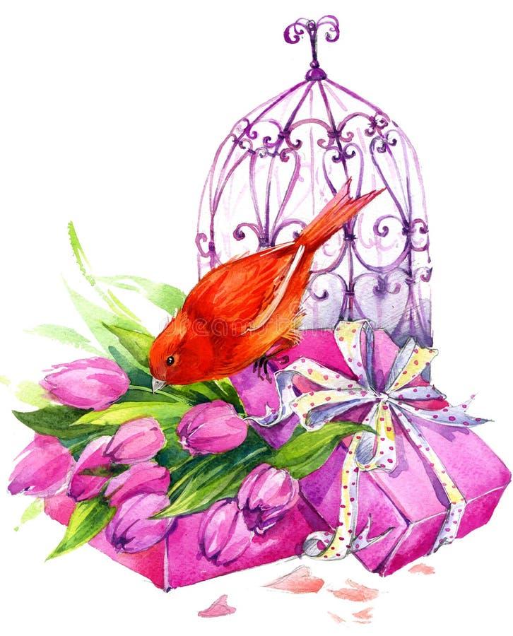 Tulip Flowers, pássaro amarelo e birdcage decorativo watercolor ilustração stock