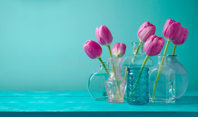 Tulip flowers in vases royalty free stock photography
