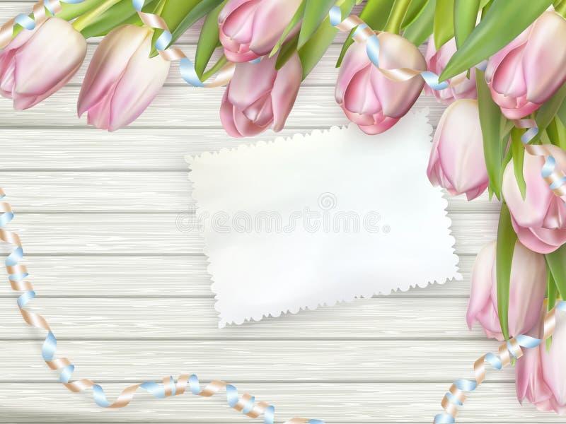 Tulip flowers on wood background. EPS 10 stock illustration