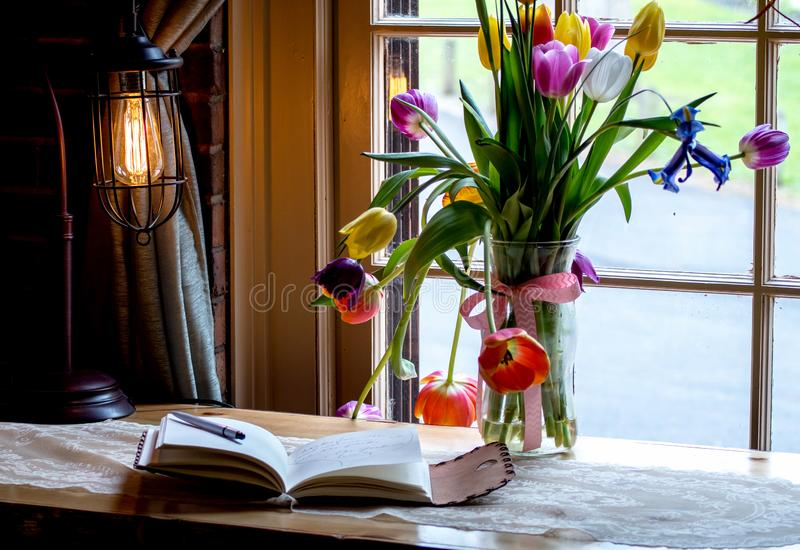 Tulip and journal still life royalty free stock photography