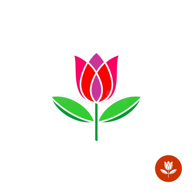 Tulip logo. Tulip bud with leaves vector logo. Simple symmetry flat style stock illustration