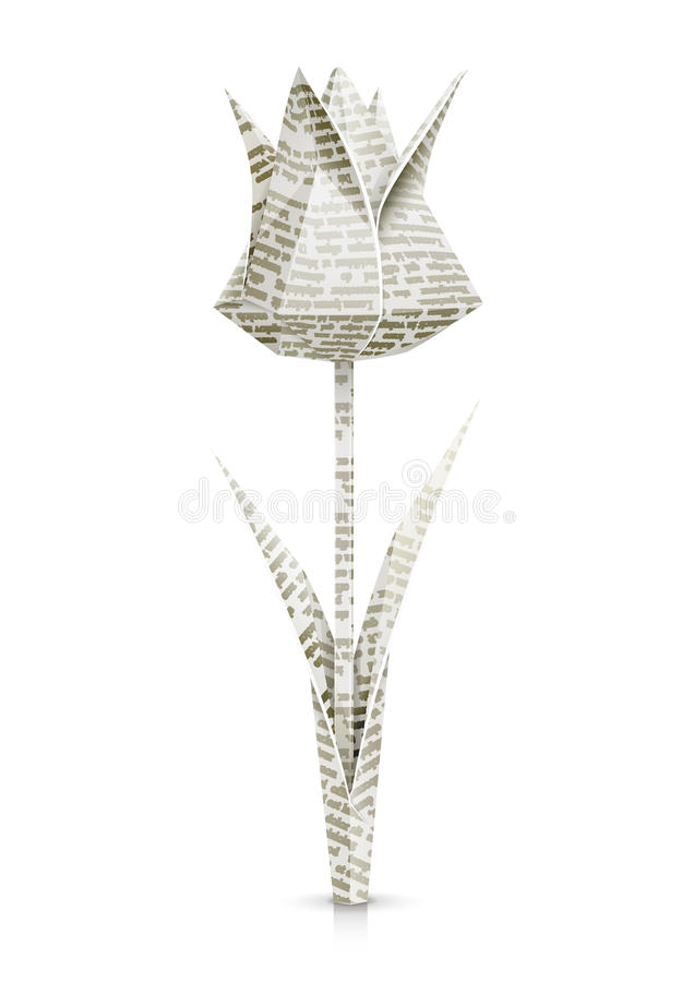 Tulip paper origami flower vector illustration