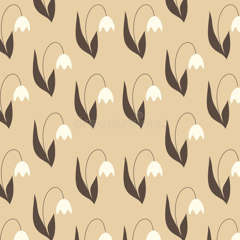 Tulip pattern. Beige tulip pattern on the blue background seamless stock illustration