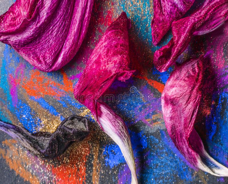 Petals on palette stock photography