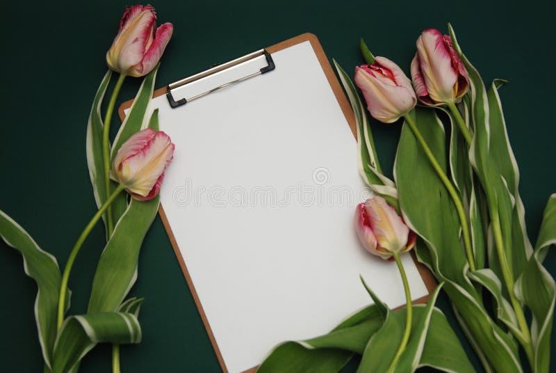 Tulip Pink-bloemboeket en Lege Witboekkaart op adark Blauwe Achtergrond met Exemplaarruimte Vlak leg royalty-vrije stock foto's