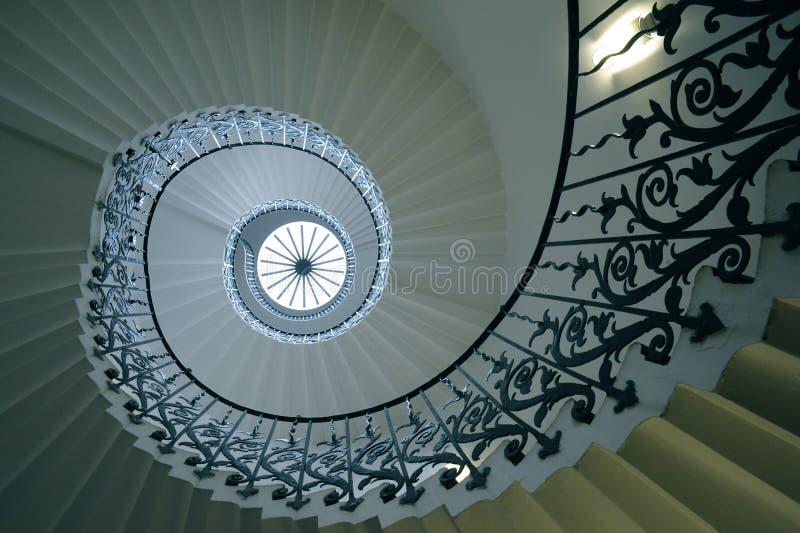 Tulip Stairs, Queen's-Huis, Greenwich, Engeland stock afbeelding