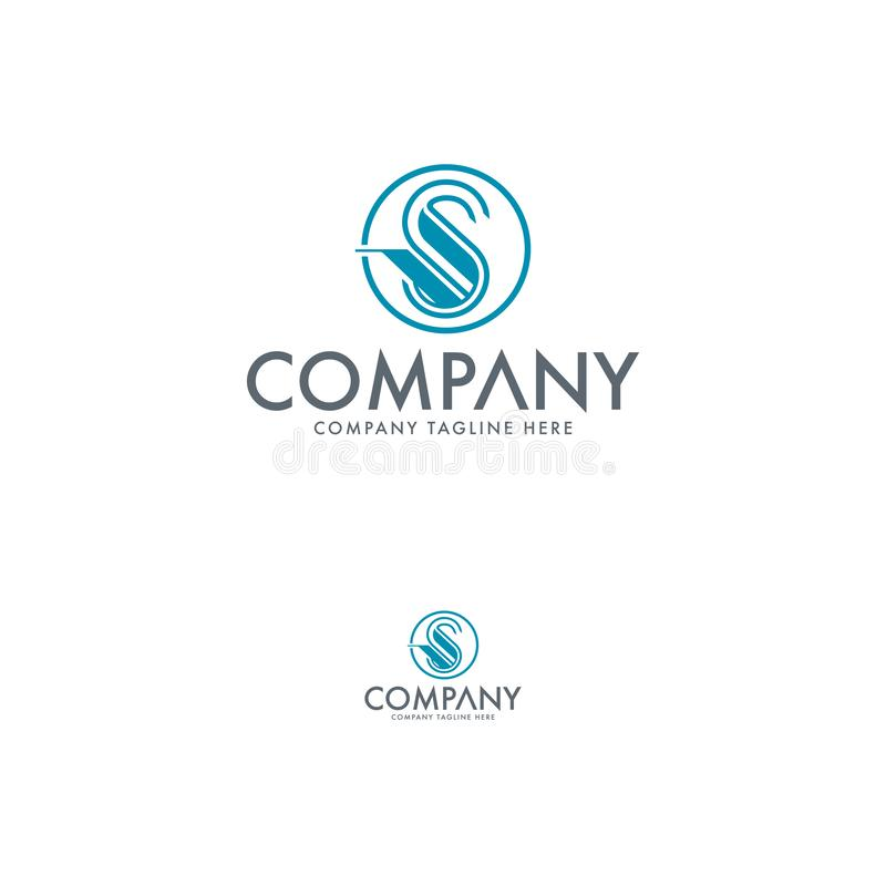 Tulip, swan and Letter S logo design template royalty free illustration